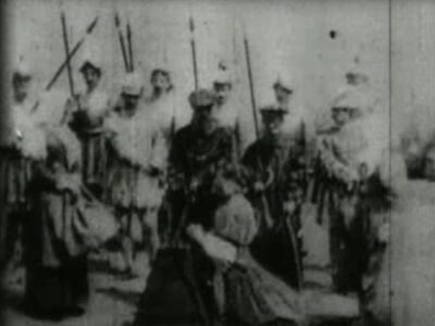 """Image taken from """"The Execution of Mary Stuart"""", a film produced in 1895"""